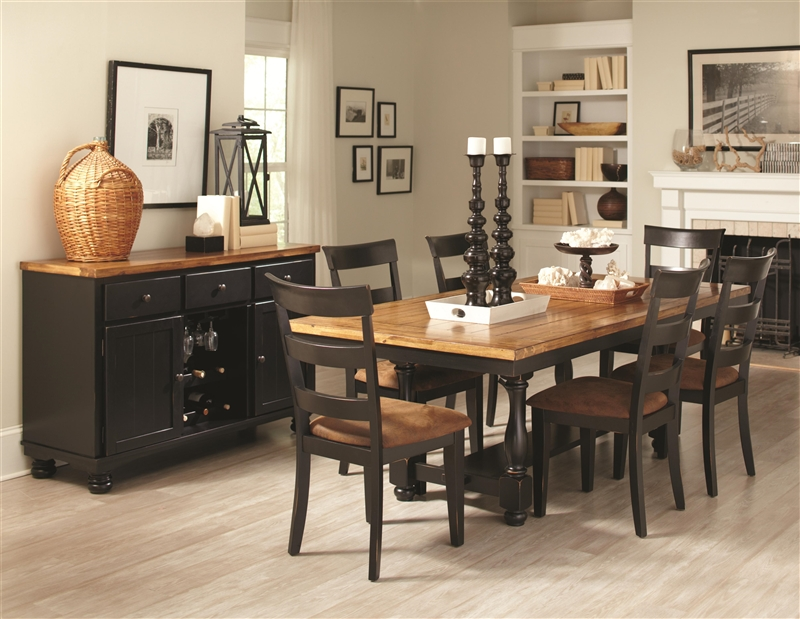 Charlotte 5 Piece Dining Table Set In Rustic Amber Black Two Tone Finish By Coaster 104611