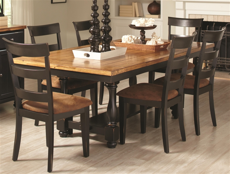 Charlotte 5 Piece Dining Table Set In Rustic Amber Black