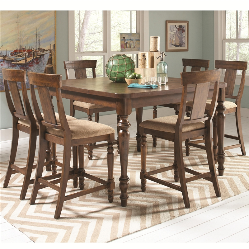 jonas 5 piece counter height dining set in rustic brown finish by coaster