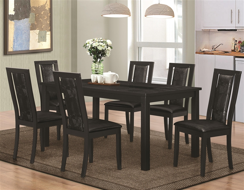 Nice Plano Black Finish 5 Piece Dining Set With Crocodile Embossing By Coaster    105021