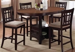 Lavon 5 Piece Counter Height Dining Set in Espresso and Chestnut Finish by Coaster - 105278