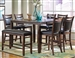 Dupree 5 Piece Counter Height Dining Set w/ Butterfly Leaf in Dark Brown Finish by Coaster - 105478