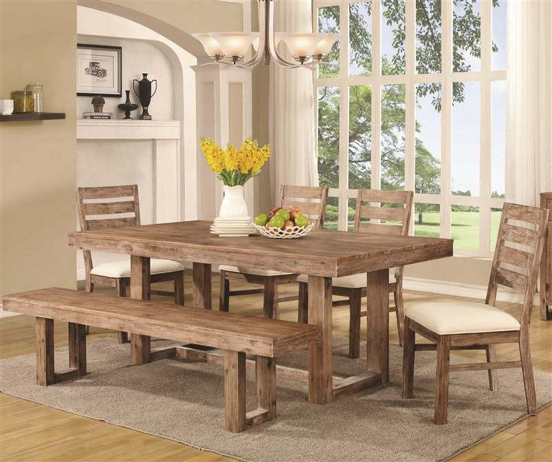 Elmwood  Piece Dining Set in Wire Brushed Nutmeg Finish by