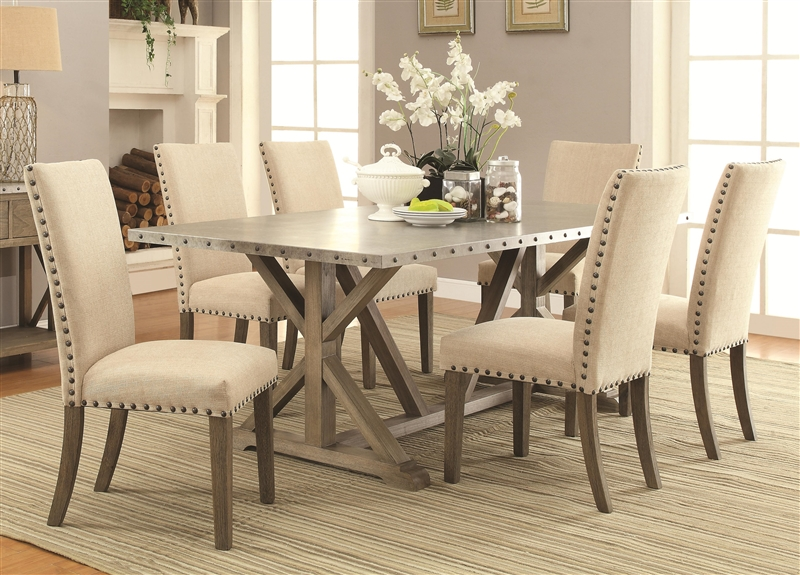 Webber 5 Piece Dining Table Set In Driftwood Finish By Coaster 105571