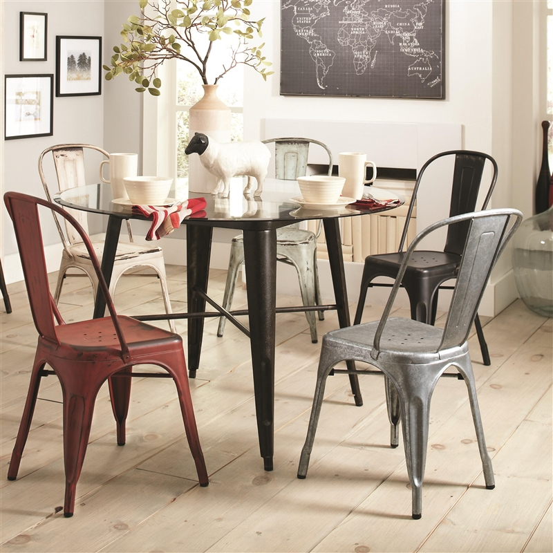 bellevue 5 piece round dining table set in antique rustic finish by