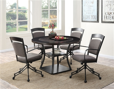 Ferdinand 5 Piece Game Table Dining Set in Dark Merlot Finish by Coaster - 105640