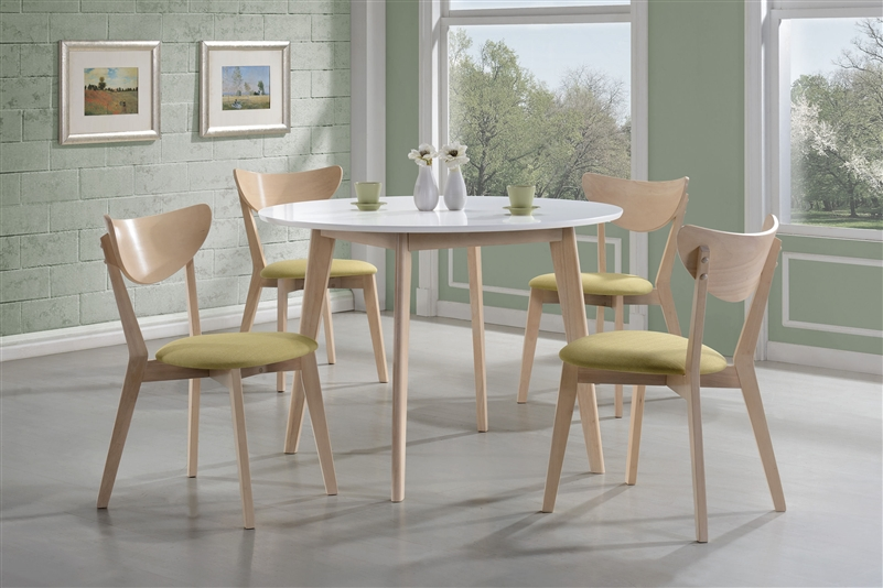 Appel 5 Piece Dining Set In White And Maple Two Tone Finish By Coaster    106050