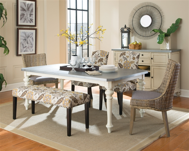 Matisse 6 Piece Dining Set in Antique White Two Tone Finish by Coaster -  106111-6