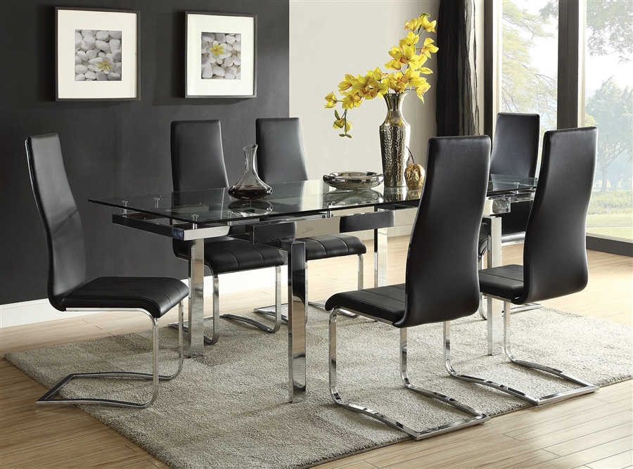 Admirable Wexford 5 Piece Dining Set In Polished Chrome Finish By Coaster 106281 B Creativecarmelina Interior Chair Design Creativecarmelinacom