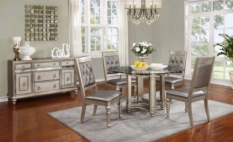 Beau Bling Game 5 Piece Dining Set In Metallic Platinum Finish By Coaster    106470