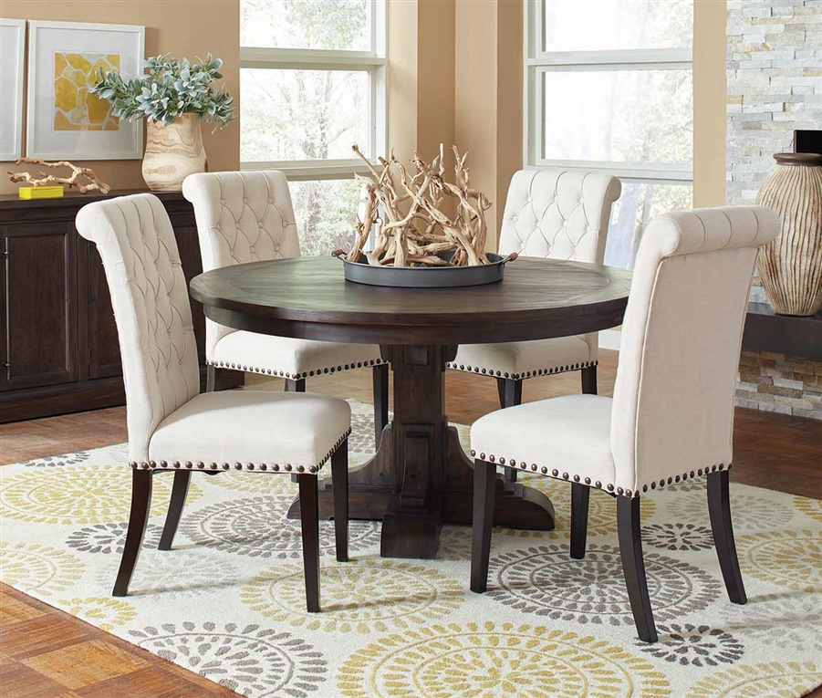 Brown Traditional 5 Piece Round Dining Set Cally: Weber 56 Inch Round Table 5 Piece Dining Set In Smokey