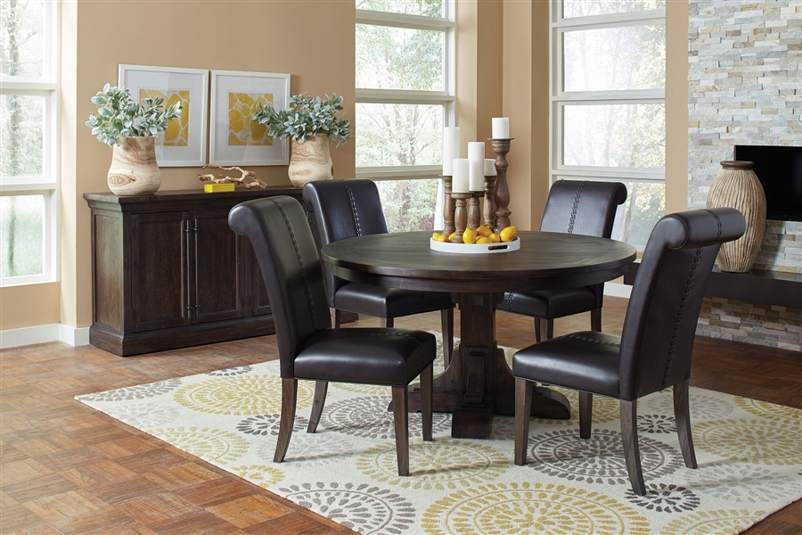 Weber Inch Round Table Piece Dining Set In Smokey Black Rustic - 56 inch round table