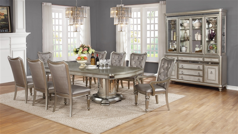 Bling Game Double Pedestal Table 7 Piece Dining Set In Metallic Platinum  Finish By Coaster   107311