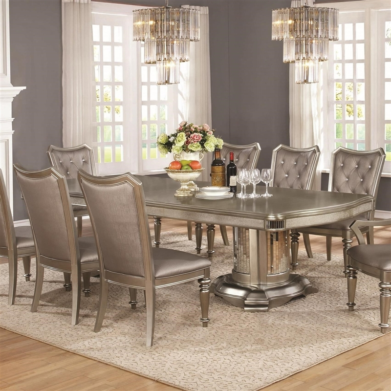 Bling Game Double Pedestal Table 7 Piece Dining Set In