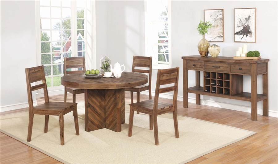 Tucson 5 Piece 50 Inch Round Table Dining Set In Natural Wood Finish By Coaster 108170