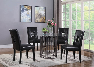 Bells 5 Piece Dining Table Set in Antique Silver Finish by Coaster - 108861