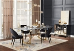 Arcade Marble Top 5 Piece Dining Set in Sunny Gold Finish by Coaster - 109211-B