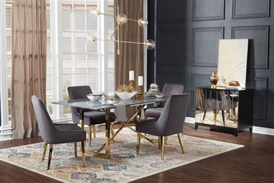 Arcade Marble Top 5 Piece Dining Set in Sunny Gold Finish by Coaster - 109211-G