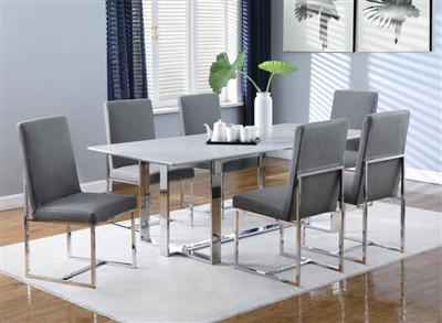 Annika 7 Piece Dining Set in Chrome Finish by Coaster - 109401