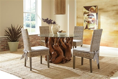 Asbury 5 Piece Round Dining Set in Natural Teak Finish by Coaster - 109511-W