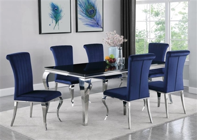 Carone Ink Blue Chair 7 Piece Dining Set in Stainless Steel Finish by Coaster - 115071