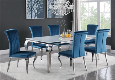 Carone Teal Chair 7 Piece Dining Set in Stainless Steel Finish by Coaster - 115081