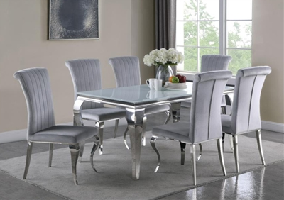 Carone Grey Chair 7 Piece Dining Set in Stainless Steel Finish by Coaster - 115091
