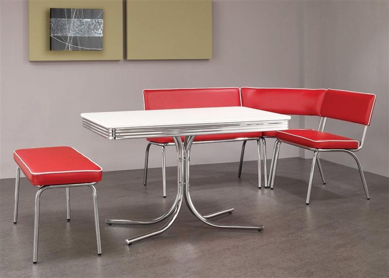 Chrome Retro Dining Corner Nook Set Red