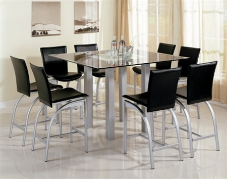 Contemporary Metal And Glass Square Top Counter Height 9 Piece Dining Set  By Coaster   120218