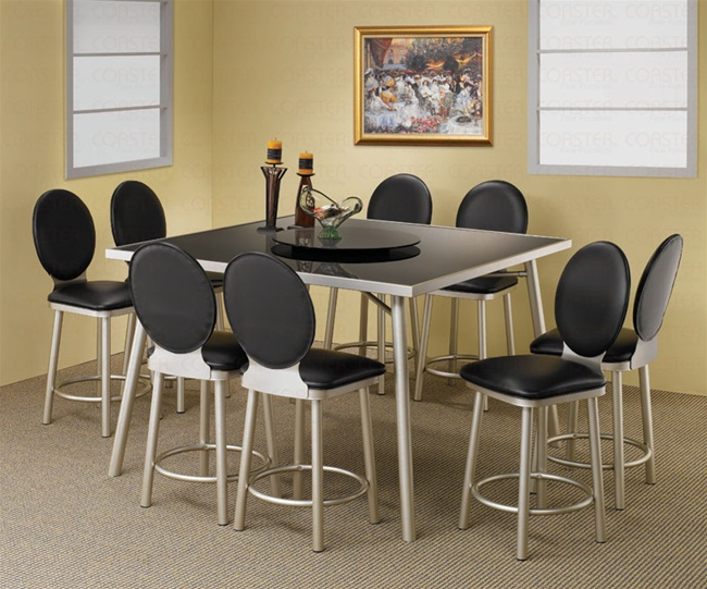 Black Glass Top 9 Piece Counter Height Dining Set In Silver Metal Finish By  Coaster   120248
