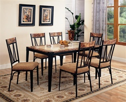 5 Piece Marble and Metal Dining Set by Coaster - 120411