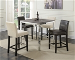 Eldridge 5 Piece Counter Height Table Set in Weathered Grey and Chrome Finish by Coaster - 121128
