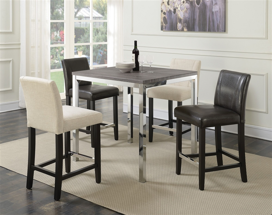 Eldridge 5 Piece Counter Height Table Set In Weathered