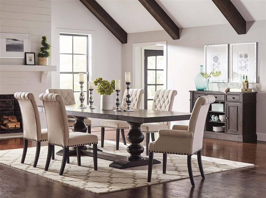 Phelps 5 Piece Trestle Table Dining Set In Antique Noir Finish By Coaster 121231