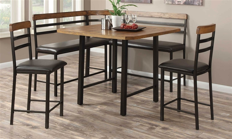 Sheldon 4 Piece Counter Height Corner Nook Set In Two Tone Finish By  Coaster   121608