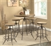 Distressed Wood and Metal 3 Piece Adjustable Bar Table Set by Coaster - 122097