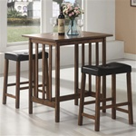 3 Piece Bar Table Set in Nut Brown Finish by Coaster - 130004