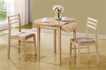 3 Piece Dining Set in Natural Finish by Coaster - 130006