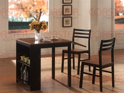 3 Piece Breakfast Set Walnut/Black Two Tone Finish by Coaster - 130015