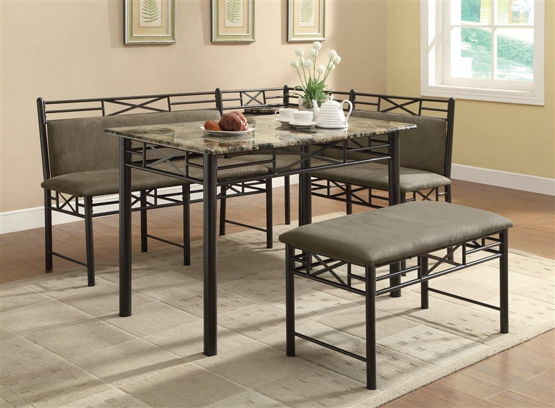 Slater 3 Piece Corner Nook Dining Set With Faux Marble Top By Coaster 130040