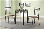 Slater 3 Piece Faux Marble Top Dining Set by Coaster - 130041