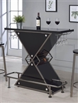 Glossy Black Contemporary Bar Unit by Coaster - 130077