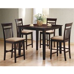 Cappuccino Finish Casual Counter Height 5 Piece Set by Coaster -150041