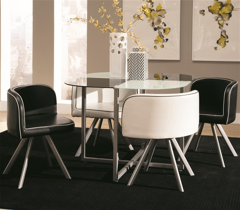 Marvelous Trussell Checkered Motif 5 Piece Dining Table Set By Coaster 150089 Ibusinesslaw Wood Chair Design Ideas Ibusinesslaworg
