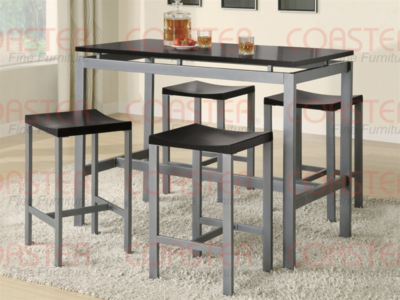 & 5 Piece Wood and Metal Counter Height Dining Set by Coaster - 150095