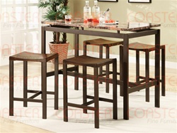 5 Piece Marble, Wood and Metal Counter Height Dining Set by Coaster - 150096