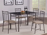 Marble Top Black Metal 5 Piece Dining Set by Coaster - 150114