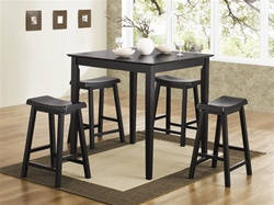 5 Piece Counter Height Dining/Pub Set in Black Finish by Coaster - 150291N