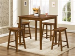 5 Piece Counter Height Dining/Pub Set in Dark Walnut Finish by Coaster - 150292N