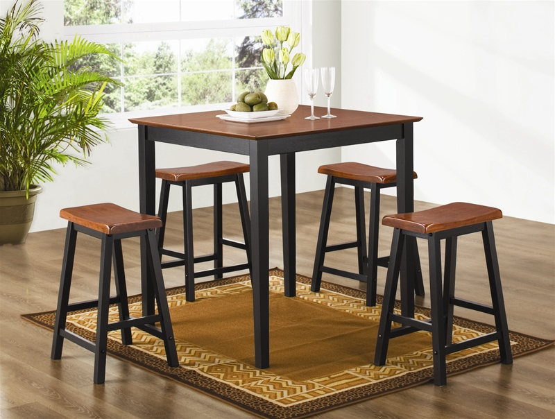 5 Piece Counter Height Dining Pub Set In Two Tone Finish By Coaster 150293n